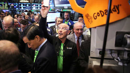GoDaddy CEO Blake Irving visits on the floor of the New York Stock Exchange as the website hosting service makes its initial public offering (IPO) on April 1, 2015 in New York.