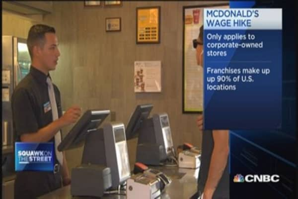 McDonald's wage hike applies to company-owned stores