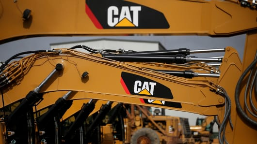 The CAT logo is displayed on Caterpillar construction equipment.