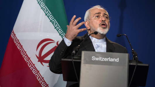 Iranian Foreign Minister Javad Zarif speaking at the Swiss Federal Institute of Technology in Lausanne, Switzerland in 2015.