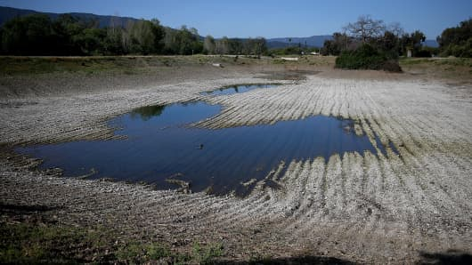Low water levels at the Los Capitancillos Recharge Ponds on April 3, 2015 in San Jose, California.