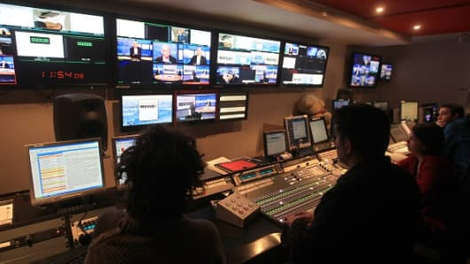 Central control room at French international station TV5 Monde headquarters