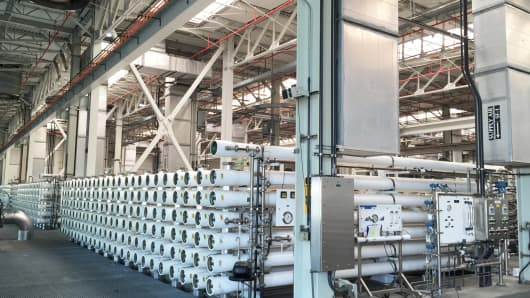 Inside the reverse osmosis treatment area of the Orange County Water District's $481 million water recycling plant where they turn sewage water into purified water.
