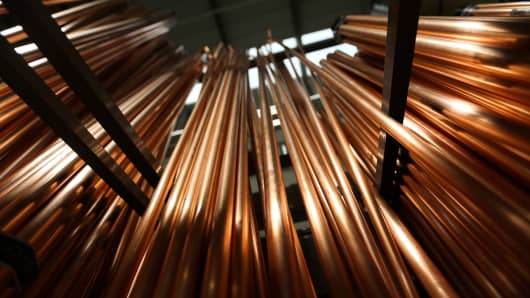 Copper water pipes.