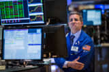 Trader on floor of New York Stock Exchange