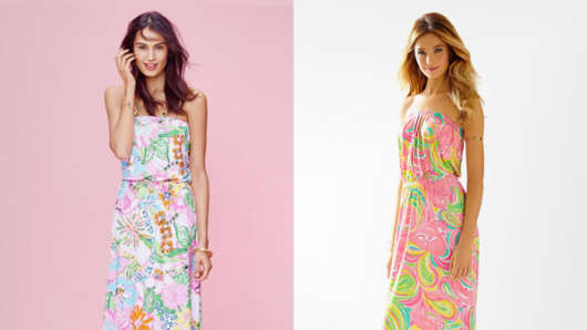 Lilly Pulitzer for Target's Nosie Posey maxi dress, on eBay, left; Lilly Pulitzer's Marlisa strapless maxi dress, on LillyPulitzer.com, on right.