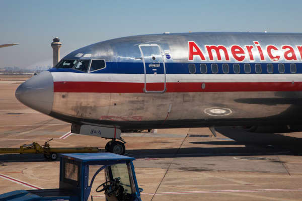 An American Airlines plane at the Dallas/Fort Worth International Airport
