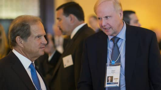 "Robert ""Bob"" Dudley, chief executive officer of BP, right, speaks with Scott Sheffield, chairman and CEO of Pioneer Natural Resources, during the 2015 IHS CERAWeek conference in Houston."