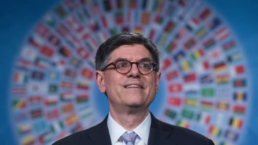 Treasury Secretary Jacob Lew speaks at a press conference at the IMF/WB Spring Meetings in Washington, DC.