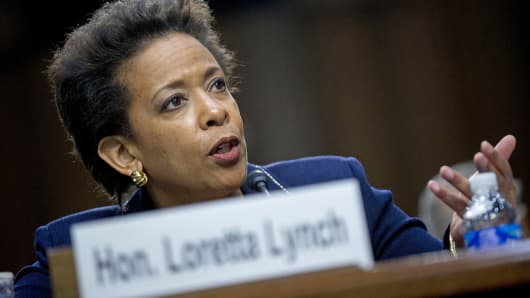 Attorney General nominee Loretta Lynch testifies on Capitol Hill in Washington, Jan. 28, 2015.