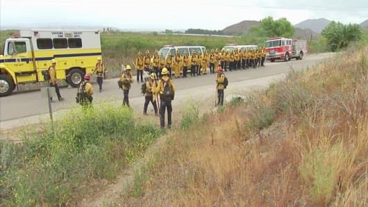Ventura County Fire Department trainees in drills ahead of the wildfire season.