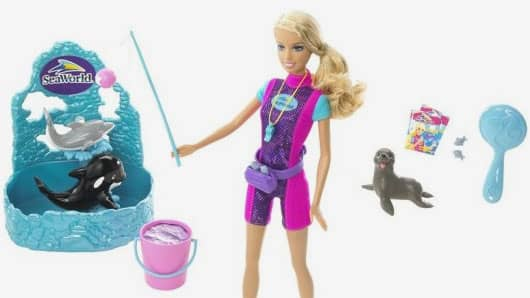 Mattel discontinues 'SeaWorld Trainer Baribie' due to animal rights backlash.