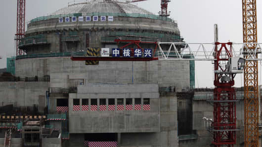 The Taishan Nuclear Power Plant under construction in Taishan, Guangdong province, China.