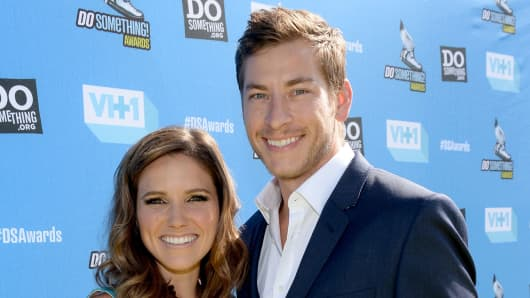 Host Sophia Bush (L) and Google executive Dan Fredinburg arrive at the DoSomething.org and VH1's 2013 Do Something Awards at Avalon on July 31, 2013 in Hollywood, California.