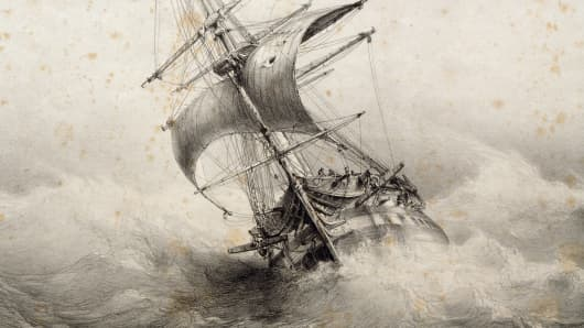 The Jean Bart, 74-gun French ship in a storm, lithograph by Ferdinand Perret, 19th century.