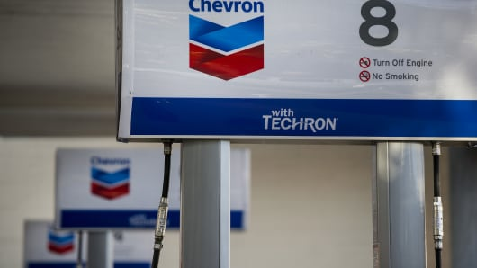 A Chevron Corp. fueling station stands in San Francisco, California.