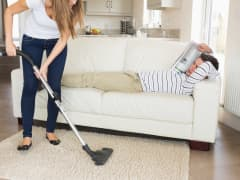 Woman housework lazy husband