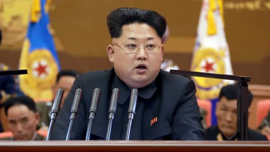 North Korean leader Kim Jong Un speaks in an undated photo released April 26, 2015, by North Korea's Korean Central News Agency.