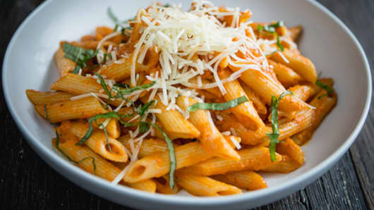 Through its UberEATS division, Uber offers a menu list that changes daily. This dish, penne arrabiata from Los Angeles' Coral Tree Café, will be available Wednesday.