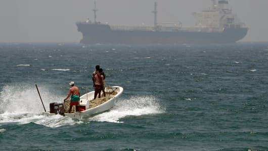 An oil tanker in the sea waters off Fujairah, United Arab Emirates.