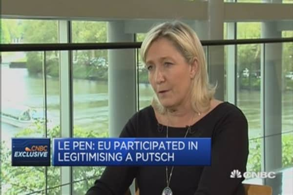 EU to blame for Crimea annex: Marine Le Pen