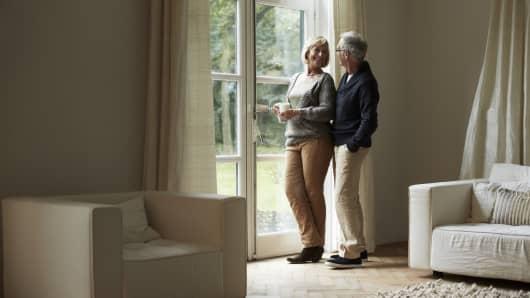Senior couple retired at home