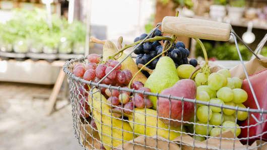Grocery basket of fruit