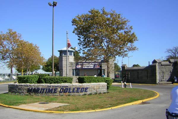 The north gate of SUNY Maritime College is shown in the Bronx borough of New York.