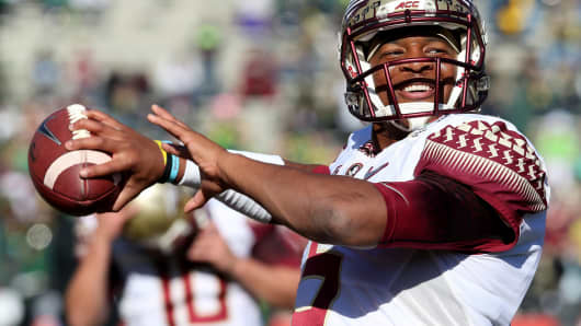 Jameis Winston when he was with the Florida State Seminoles