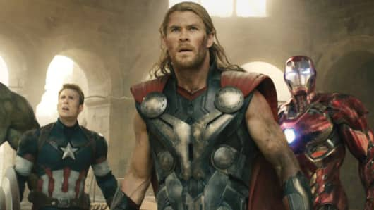 "The Avengers unite against Ultron in the film ""Avengers: Age of Ultron."""