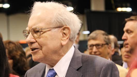 Warren Buffett at the Berkshire Hathaway Annual Shareholder's Meeting in Omaha Nebraska on May 2, 2015.
