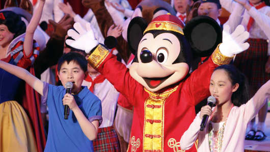 Entertainers perform during the groundbreaking ceremony for Walt Disney's Shanghai Disney Resort on Friday, April 8, 2011.