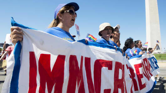 Immigration reform protesters march to the White House last August.