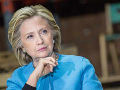 Hillary Clinton during round table discussion