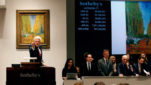 Van Gogh's L'Allée des Alyscamps up for auction at Sotheby's New York Impressionist & Modern Art Evening Sale on May 5, 2015.