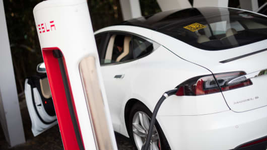 A Tesla Model S charging.