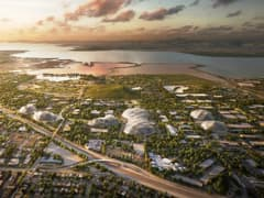 A rendering of an aerial view of Google's proposed North Bayshore campus in Mountain View, Calif.