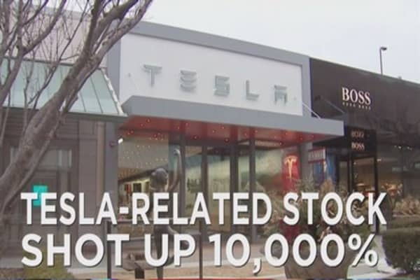 Tesla related stock shoots up 10k percent
