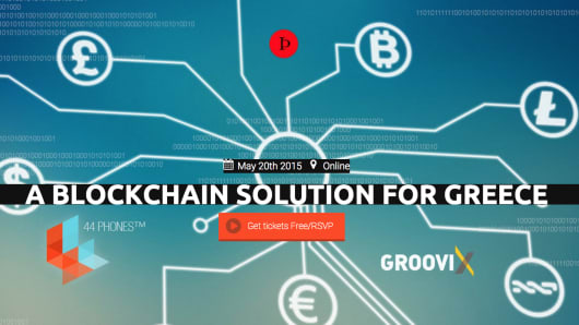 A screenshot for a Bitcoin Blockhain Solution for Greece event.