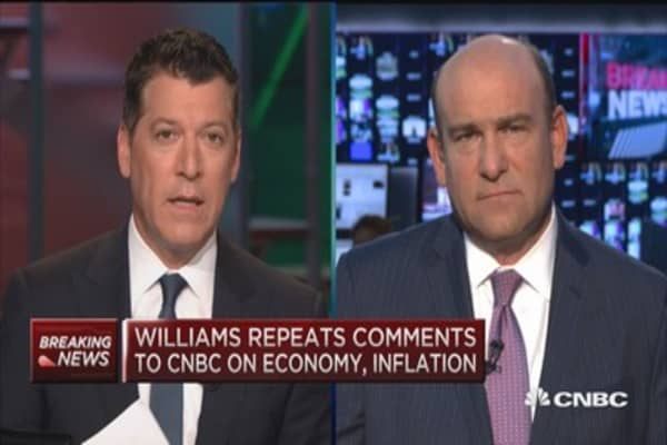 Williams: Earlier rate hikes allow for gradual increases