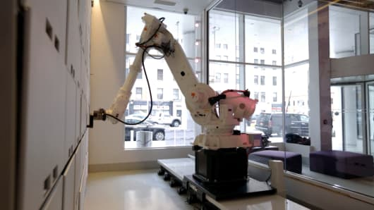 The Yobot luggage-handling robot at the Yotel New York hotel in midtown Manhattan.