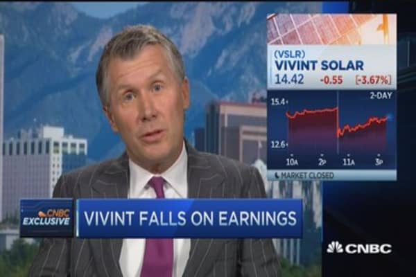 Vivint falls on earnings; CEO calls quarter great