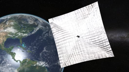 A depiction of LightSail with its unfurled solar sails