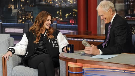 """Actress Julia Roberts, donning a Golden Bear jacket, makes her final visit to the """"Late Show with David Letterman"""" on May 13, 2015."""