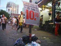People walking in Rio de Janeiro shopping district