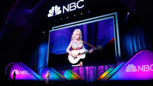 Dolly Parton performs at the NBC Upfront Presentation, May 11, 2015.
