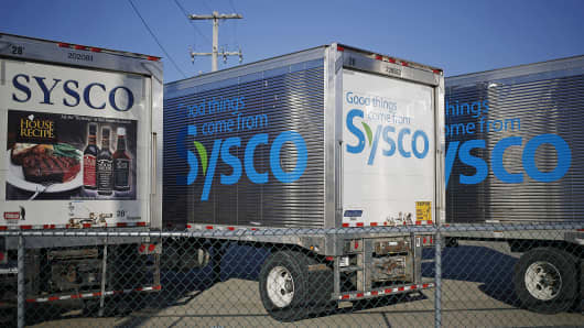 Sysco tractor-trailers sit parked outside the company's distribution center in Louisville, Ky.