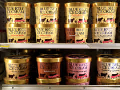 Blue Bell ice cream in grocery store