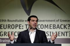 "Greek Prime Minister Alexis Tsipras delivers a speech during the Economist Conference on ""Europe: The comeback, Greece: How resilient?"" in Athens May 15, 2015."