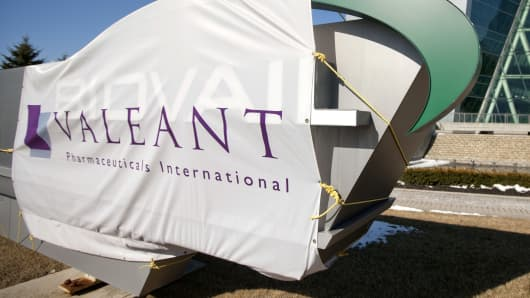 Valeant Pharmaceuticals signage is displayed outside of the company's headquarters in Mississauga, Ontario.